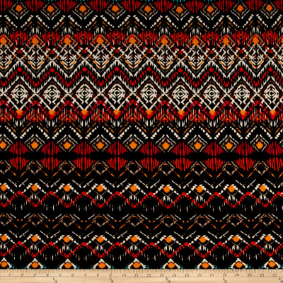 Abstract Zig Zag Jersey Knit Print Black/Orange