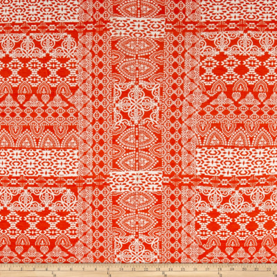 Paper Snowflake Jersey Knit Orange/Ivory