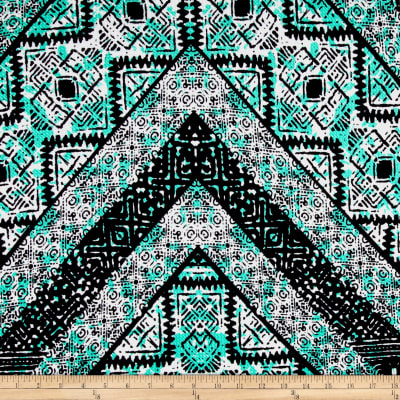 Aztec Mosaic Stripe Double Knit Print Black/Aqua