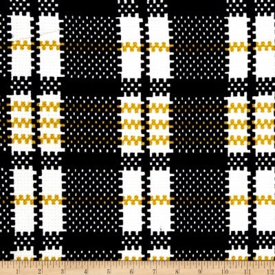 Plaid Double Knit Print Ivory/Mustard