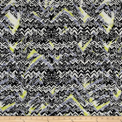 Abstract Zig Zag Dobby Crepe Print Black/Citron