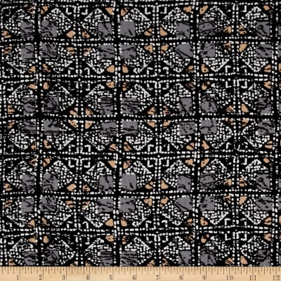 Shaded Squares Rayon Crepe Print Black/Buff