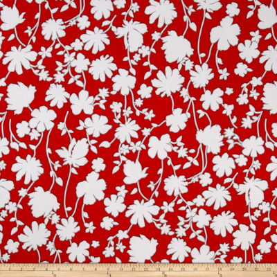 Summer Floral Stretch ITY Cherry/White