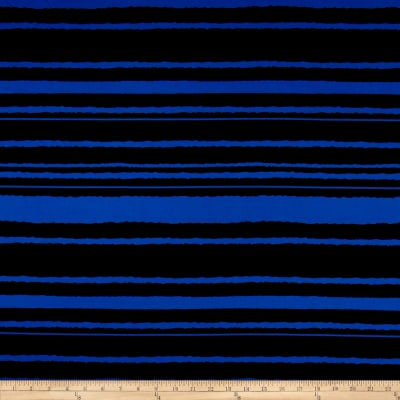 Stripe Span Techno Scuba Knit Royal/Black