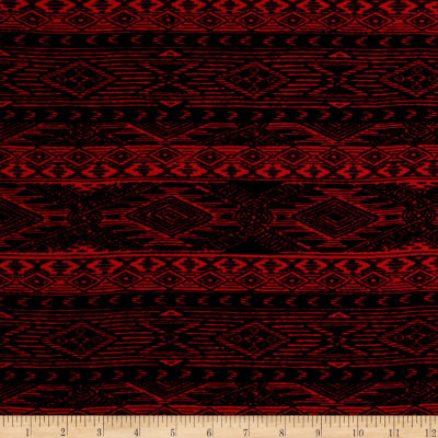 Mayan Diamond Stripe Span Jersey Knit Black/Cherry