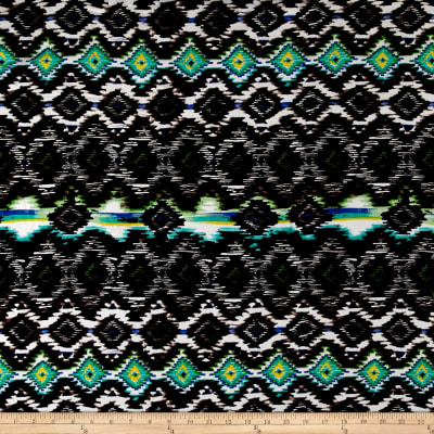 Ikat Diamond Span Jersey Knit Black/Jade