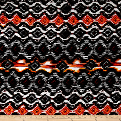 Ikat Diamond Span Jersey Knit Black/Orange