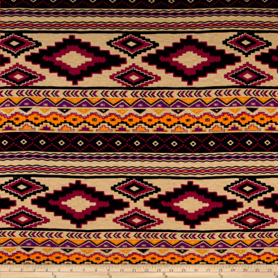 Tribal Jersey Knit Purple/Tan