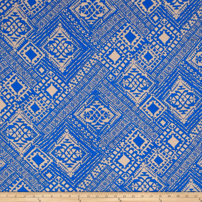 Rayon Challis Aztec Royal/Tan