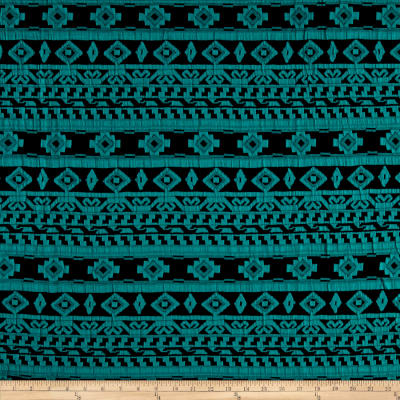 Geometric Jacquard Double Knit Navy/Teal