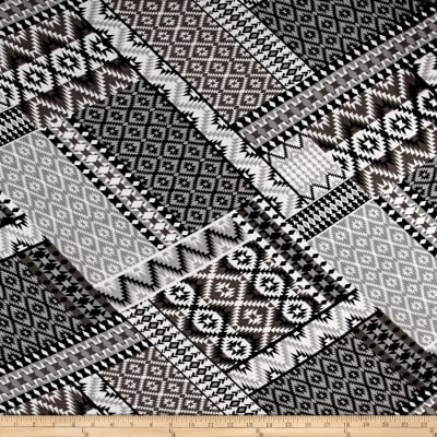 Aztec Diamonds Jersey Knit Grey/Black