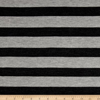 Modal Cotton Blend Jersey Knit Stripe Antracita/Heather Grey