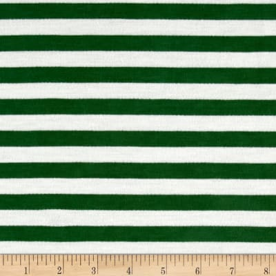 French Terry Knit Stripe Green/Ivory