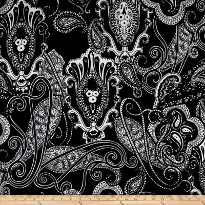 Liverpool Double Knit Print Paisley Black/White