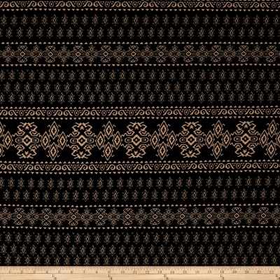 Liverpool Double Knit Print Abstract Geo Black/Khaki