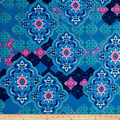 Liverpool Double Knit Print Bohemian Royal/Light Blue/ Pink