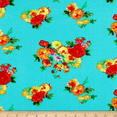 Liverpool Double Knit Print Floral Mint/Chartreuse/Blue