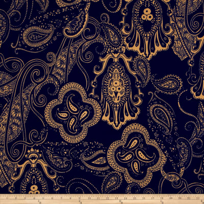 Liverpool Double Knit Print Paisley Blue/Khaki