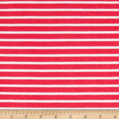 Liverpool Double Knit Print Stripes Coral/White