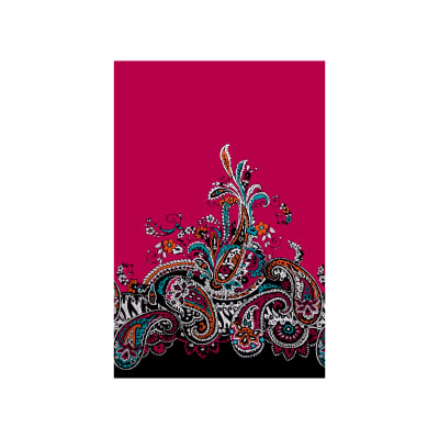 Stretch ITY Knit Border Print Paisley Fuchsia