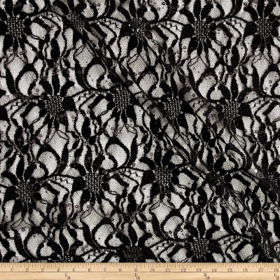 Glitter Embossed Lace Floral Large Black