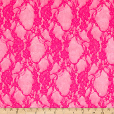 Giselle Stretch Floral Lace Neon Fuchsia