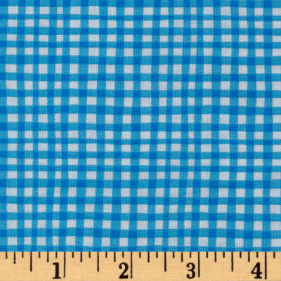 Michael Miller Doggie Play Day Gingham Play Blue