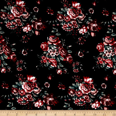 Rayon Spandex Jersey Knit Flower Print Black/Red