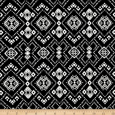 Rayon Spandex Jersey Knit Diamond Print Black/White