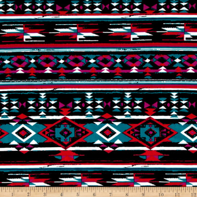 Stretch ITY Knit Aztec Print Red/Black/Jade