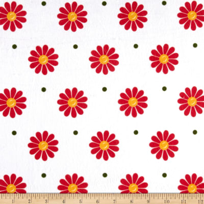 Minky Sunshine Daisies White/Red