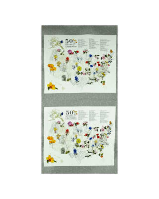 Moda State Flowerscape State Flower Map Panel Grey