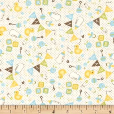 Moda Sweet Baby Flannel Nursery Toss Sky/Cloud