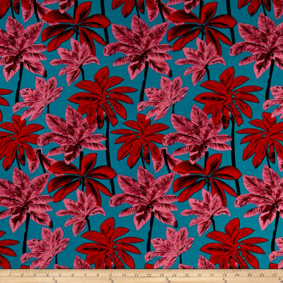 Rayon Challis Tropical Prints Red/Pink/Green