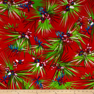 Rayon Challis Tropical Prints Red/Green/Mustard