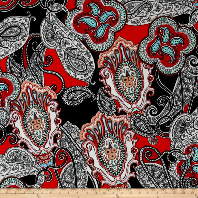 Alanna Resort Stretch ITY Knit Paisley Prints Black/Ivory/Red