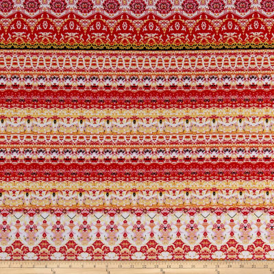 Ethnic Stretch ITY Jersey Knit Red/Yellow