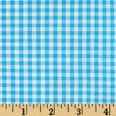 "60"" Cotton Blend Woven 1/8'' Gingham Turquoise"