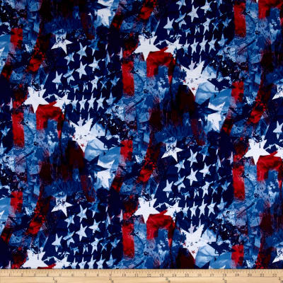 Poly Spandex Jersey Knit Stargazer Print Blue, Red, White
