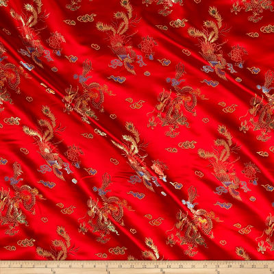 Chinese Brocade Sateen Dragon Red