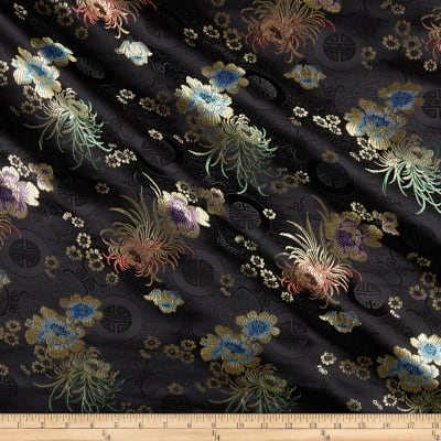 Chinese Brocade Sateen Phoenix Black