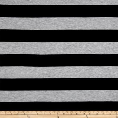 Poly Rayon Spandex Jersey Knit 2X2 Stripe Black/Heather Gray