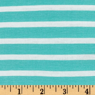 Rayon Spandex  1/2 X 1/4 Yarn Dyed Stripes Jersey Knit Light Mint/Ivory