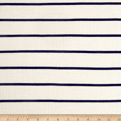 4X2 Rib Knit Stripe Ivory/Navy