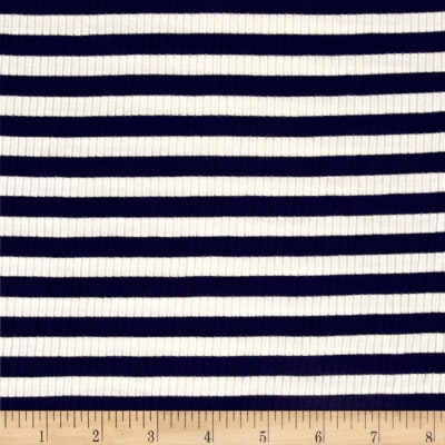 4X2 Rib Knit Medium Stripe Ivory/Navy
