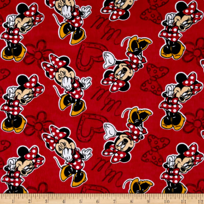 Disney Minnie Mouse Monogram Flannel Red