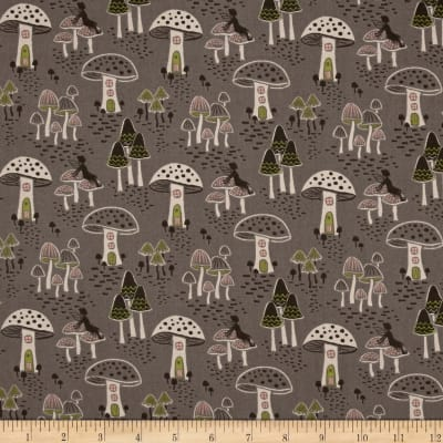 Enchanted Forest Mushrooms Grey