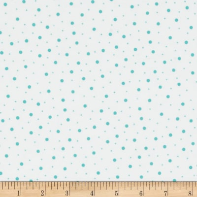 Kimberbell Little One Flannel Too! Random Dots White/Teal