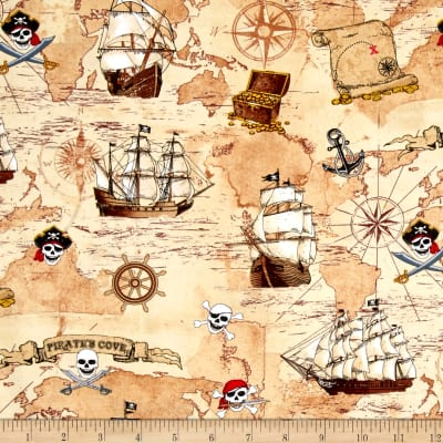 Timeless Treasures Pirate's Cove Pirate Map & Ships Tan