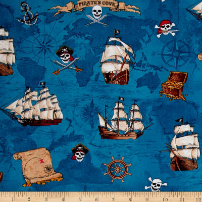 Timeless Treasures Pirate's Cove Pirate Map & Ships Blue